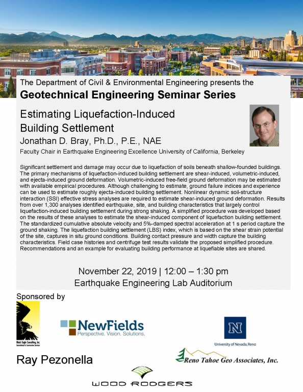 Flyer of Jon Bray's UNR Geotechnical Engineering Seminar