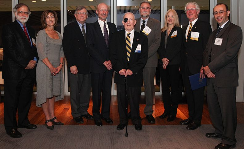 Inductees Gregory B, Baecher, John A. Baker, James (Jim) M. Becker, Fred N. Finn, Elizabeth Hausler Strand, Susan S. Hubbard, Robin K. McGuire, and Stephen Monismith, along with In Memoriam inductees Charles Gilman Hyde and Tung-Yen (T.Y.) Lin