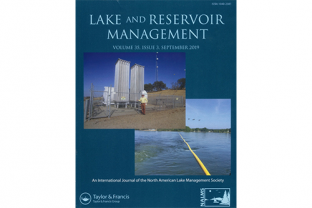 Proferssor Horne is featured on the cover of N. American Lake and Reservoir Management Journal, with the EBMUDS oxygenation shore system at Camanche Reservoir.